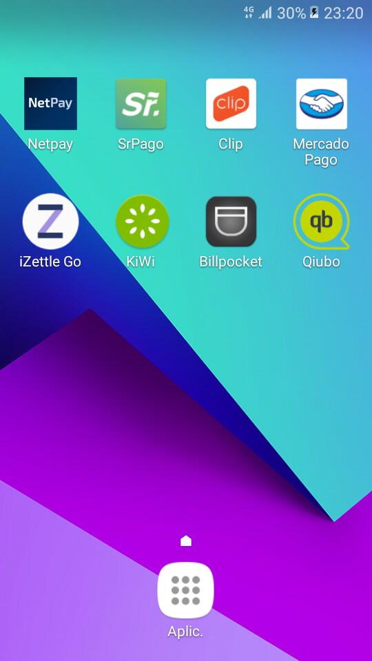 Apps Netpay, Sr. Pago, Clip, Mercado Pago, iZettle Go, KiWi, Billpocket, Qiubo